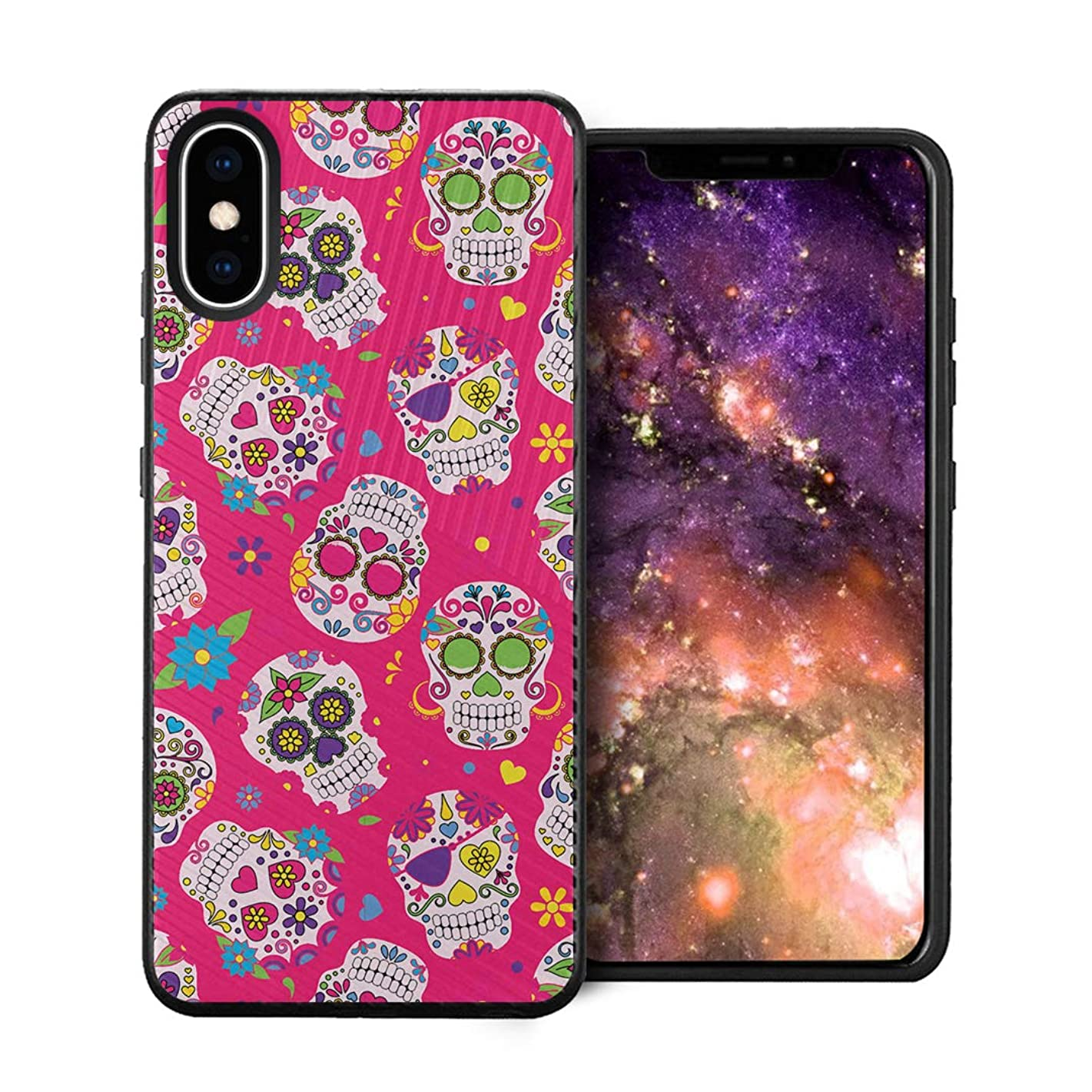 Capsule Case Compatible with iPhone Xs Max [Embossed Diagonal Lines Hybrid Dual Layer Slim Armor Black Case] for iPhone Xs Max - (Pink Sugar Skulls)
