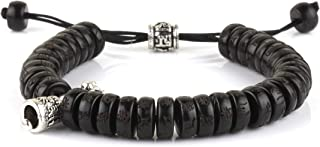 Dowling Brothers Tibetan Buddhist Coconut Shell Mantra Bell Bead Bracelet for Men or Women