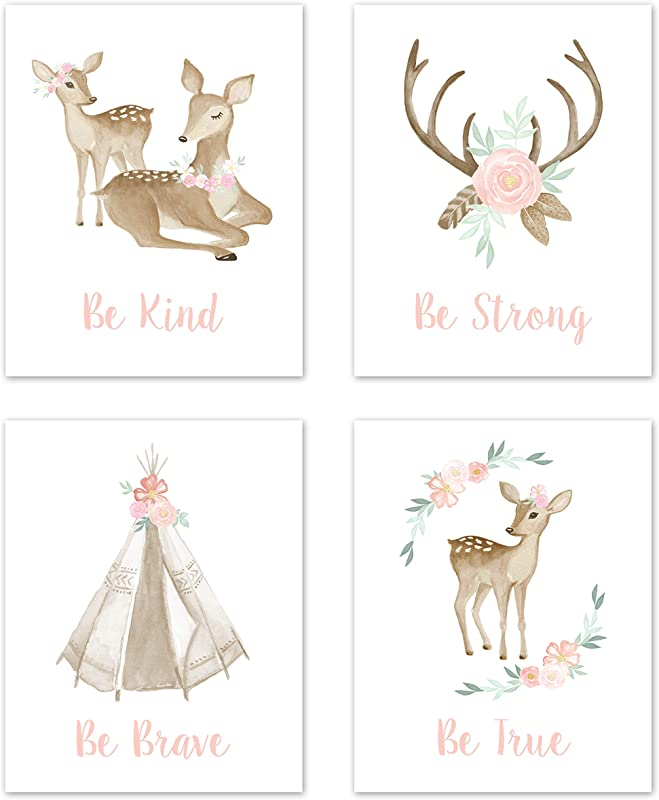 Sweet Jojo Designs Blush Pink And Mint Wall Art Prints Room Decor For Baby Nursery And Kids For Boho Woodland Deer Floral Collection Set Of 4 Be Kind Be Strong Be Brave Be True