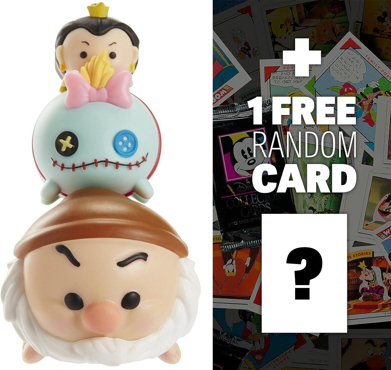 Grumpy, Scrump, Queen of Hearts  Disney Tsum Tsum 3-Micro-Figure Pack Series  2 + 1 FREE Classic Disney Trading Card Bundle