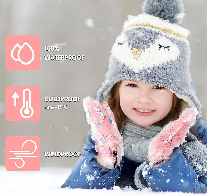 3 Pairs Lined Fleece Toddler Mittens Waterproof Gloves Baby Snow Ski Gloves Gloves for Children Winter Outdoor Activities