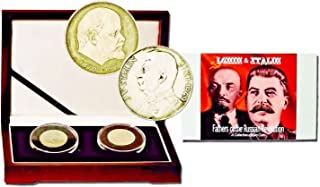 RU 1949 1 ruble , 100 korun 2 Coin Set Of The Fathers Of The Russian Revolution, Lenin & Josef Stalin, Beautifully Boxed . Very Good