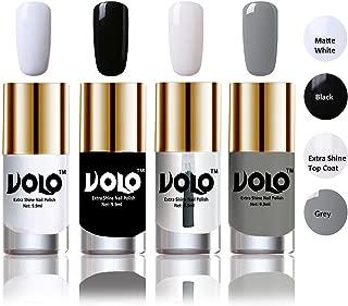 Volo HD Colors High-Shine Long Lasting Non Toxic Professional Nail Polish Set of 4 (Matte White, Black, Extra Shine Top Coat and Grey)