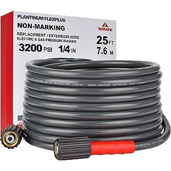 "YAMATIC FLEX+ Improve 3200PSI X 25FT Pressure Washer Hose Fit Most Gas Power Washer Hose M22 x 1/4"" ProWash Version2.0"