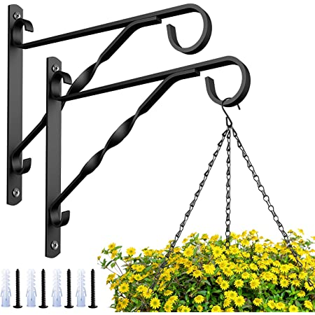 Yomiin Hanging Basket Brackets Heavy Duty Plant Hooks 2 Pack 12 inch Hand Forged Metal Outdoor Garden Wall Plant Hanger Bracket for Lanterns Wrought Iron Bracket for Planter Flower Fence Hanger
