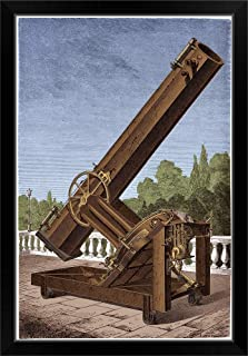 Great Silver-on-Glass Reflector Telescope Black Framed Art Print, 23