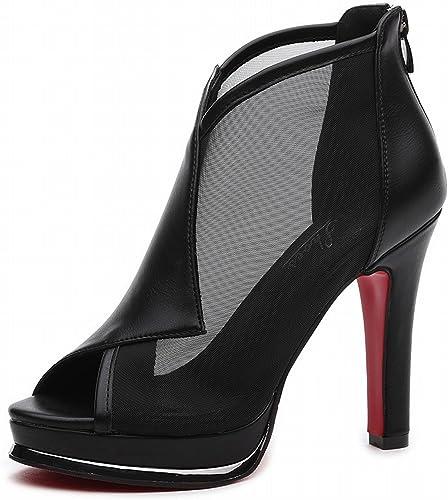 YTTY Fine avec des Chaussures à Talons Hauts à La Bouche Noir 35