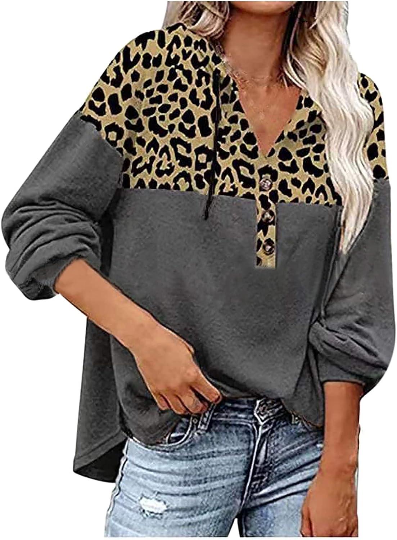 RFNIU Women'S Fashion Hoodies & Sweatshirts Fall Fashion Loose Fitting Leopard Pullover Casual V-Neck Long Sleeve Tops
