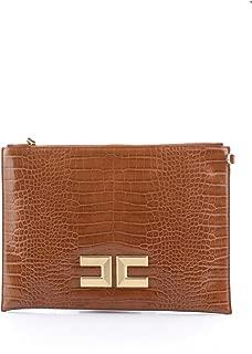 Luxury Fashion   Elisabetta Franchi Womens BS04A97E2689 Brown Clutch   Fall Winter 19