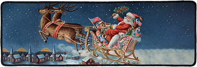 Belidome Santa Claus Elk Welcome Doormat Non Slip Area Rugs Christmas Decor Long Floor Mat