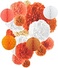 Langcal Tissue Paper Pom Poms - 19 pcs of Assorted Paper Flower Decorations Honeycombs Lanterns for Wedding Birthday Baby Shower (Orange)