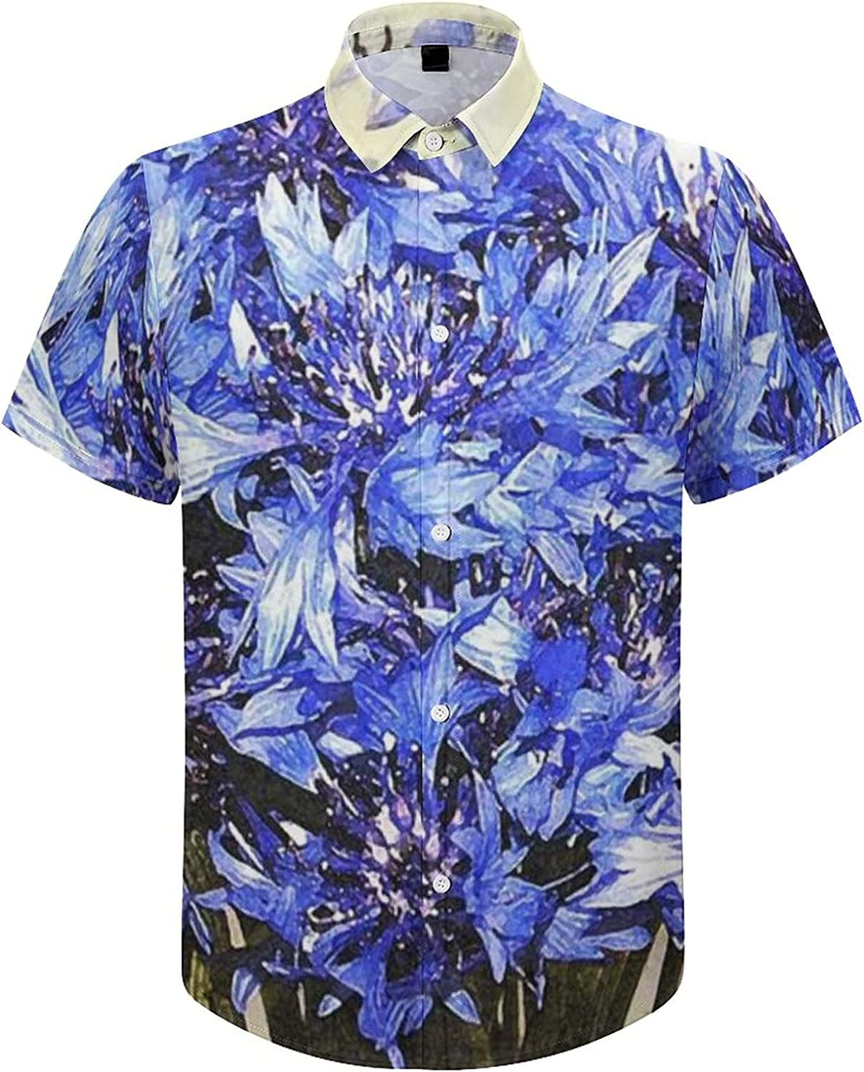 Men's Regular-Fit Short-Sleeve Printed Party Holiday Shirt Watercolor Purple Floral
