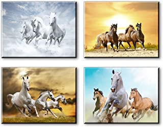 Horse Wall Art for Bedroom, PIY Rustic Running Horses Canvas Prints, Tan Wild Western Steed Picture Decor (Waterproof Artw...