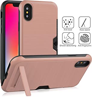 """Iphone XS Max Case 6.5"""" Brushed Plastic + TPU Protective Shell with Card Holder and Kickstand - RoseGold"""