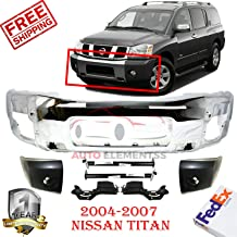 Front Bumper Chrome + Filler For 2004-2007 Nissan Titan LE/SE Extended Cab Pickup 4WD Brackets + END Left Hand & Right Hand Side Direct Replacement Primed Set Of 7 NI1066130 NI1067130 NI1032104