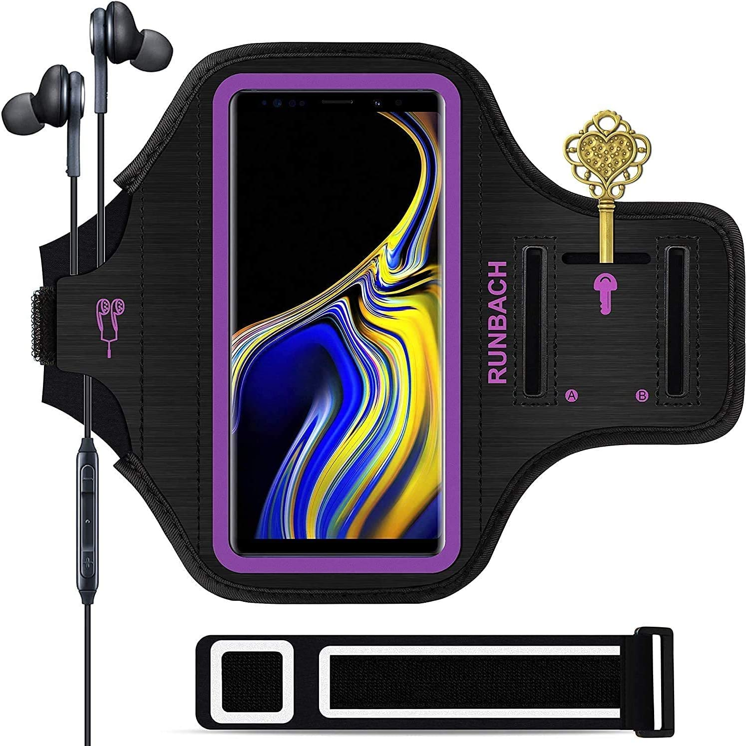 Galaxy Note 20/10+/9/8 Armband,RUNBACH Sweatproof Running Exercise Cellphone Sportband Bag with Fingerprint Touch and Card Slot for Samsung Galaxy Note 20/Note 10+/Note 9/Note 8(Purple)