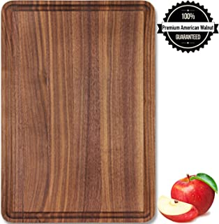 Wood Cutting Board Large Walnut 17x11x1 Reversible with Juice Groove, Thick Butcher Block Chopping Board Carving Cheese Charcuterie Serving Handmade by AtoHom