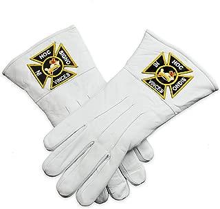 Knights Templar White Leather Masonic Gloves