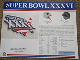 SUPER BOWL 36 RAMS PATRIOTS Willabee Ward OFFICIAL SB XXXVI NFL PATCH CARD