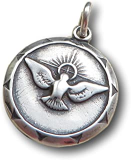 Sterling Silver Confirmation Medal with Dove - Vintage Replica