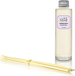 Luxe Home Lavender & Vanilla Reed Diffuser Refill Oil with Sticks | Scented Replacement Oil for Room Diffuser | Liquid Air Freshener | Includes Replacement Reeds