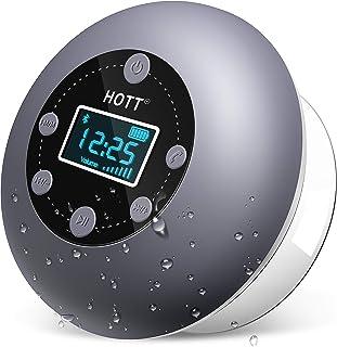 Badradio, HOTT Bluetooth Lautsprecher Dusche, Wasserdicht Tragbares Bluetooth 5.0 Boxen Musikbox, TWS Kabelloser Speaker Satter Bass Mikrofon, FM Radio für Pool, Badezimmer, IPX4