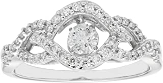 14K White Gold Dancing Diamond Wedding Engagement Ring (1/2 cttw, I Color, I1 Clarity)