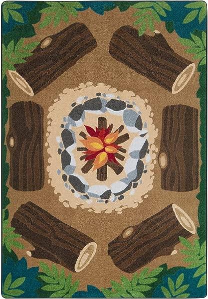 Joy Carpets Rectangle Multicolor Decorative Campfire Fun Multi Color 5 4 X 7 8