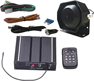 AS 100W Police Car Siren Speaker System with Wireless Remote Microphone Wiring Harness Auxiliary Light Terminals 20 Tones Fit for Police Fire Ambulance Engineer Volunteer Vehicles (AS71005-SPK0021)