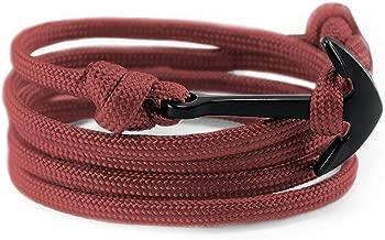 Flexo Fitness Matte Handmade Motivational Black Plated Nylon Adjustable Wrist Rope Anchor Bracelet for Men and Women