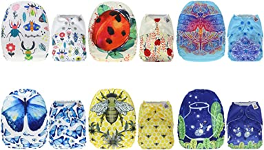 Mama Koala One Size Baby Washable Reusable Pocket Cloth Diapers, 6 Pack with 6 One Size Microfiber Inserts (Fly to The Nature)