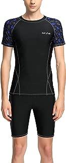 Panegy Men Long Sleeve Rashguard Sets Quick Dry Two Piece Swimsuit