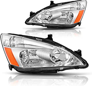 AUTOSAVER88 For 03 04 05 06 07 Honda Accord Headlight Assembly OE Headlamp Replacement, Chrome Housing Clear Lens(Pair,HO2502120&HO2503120)