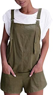 Lentta Women's Adjustable Strap Casual Cotton Linen Short Overalls Bib Rompers