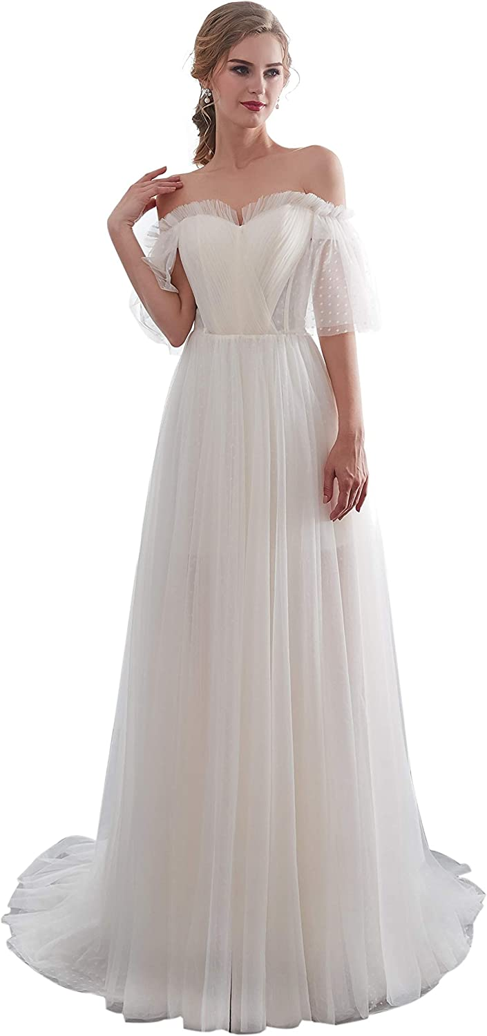 Heartgown Women's Beach Style Elegant Wedding Gowns A Line Lace Applique Lace Up Prom Wedding Gown