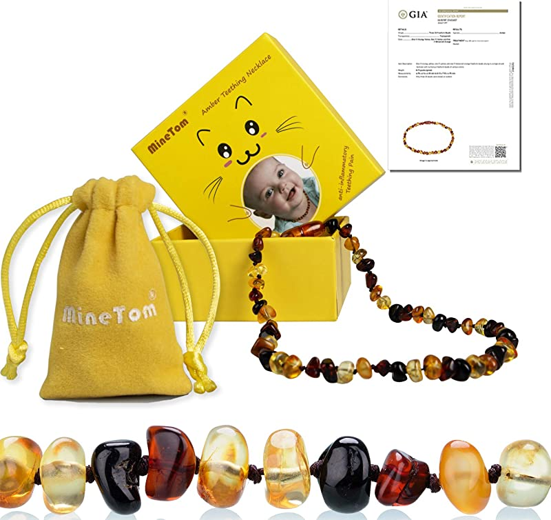 Minetom Baltic Amber Teething Necklace For Baby Anti Inflammatory Drooling And Natural Teething Pain Relief GIA Certified Pure Baltic Amber Unisex Baby Necklace Cherry Honey