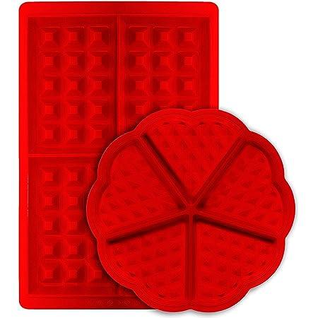 Molde para gofres de silicona antiadherente con forma rectangular belga y forma rectangular de galleta de silicona para galletas de cocina, juego de 2
