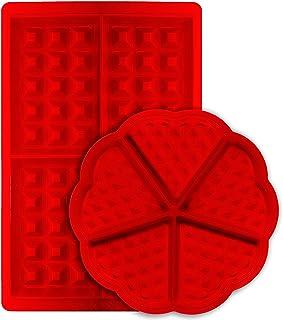 Molde de cuadrícula, msure corazón y forma rectangular belga gofres de silicona antiadherente molde para galletas galleta hornear herramienta de cocina–Set de 2