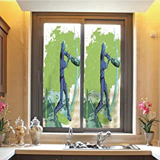 Sports 3D No Glue Static Decorative Privacy Window Films, Cricket Player Pitching Win Game Champion Team Paintbrush Effect,17.7