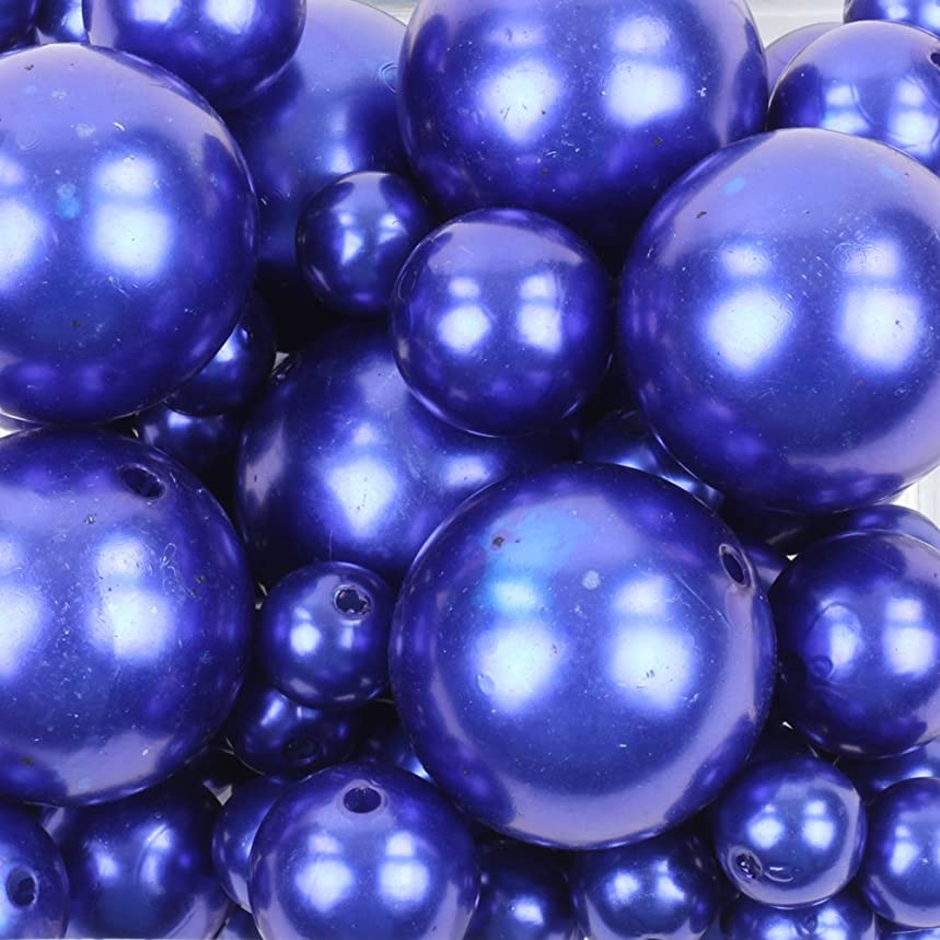 Koyal Wholesale 80 Piece Floating Pearl Beads in Transparent Water Gels, Wedding Floating Candle Centerpieces (Navy Blue)