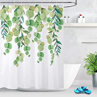 LB Green Leaves Shower Curtain Floral Design Watercolor Round Long Lvy Leaf on White Backdrop Refreshing Plant Shower Curtain 60x72 Inch Waterproof Fabric with 10 Hooks