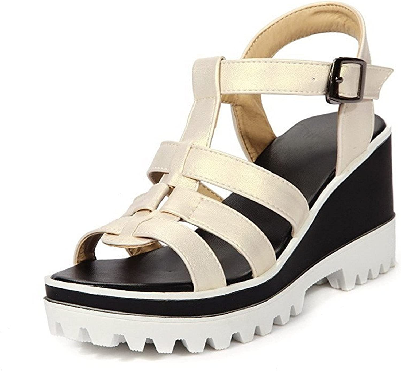 Ompson Women's PU Solid Buckle Open Toe High Heels Platforms & Wedges