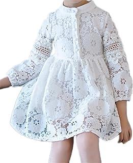 (チェリーレッド) CherryRed 女の子 レース ワンピース 長袖 春夏 膝丈 透かし雕り フレア 110~160 無地 キュート 真珠 ファッション