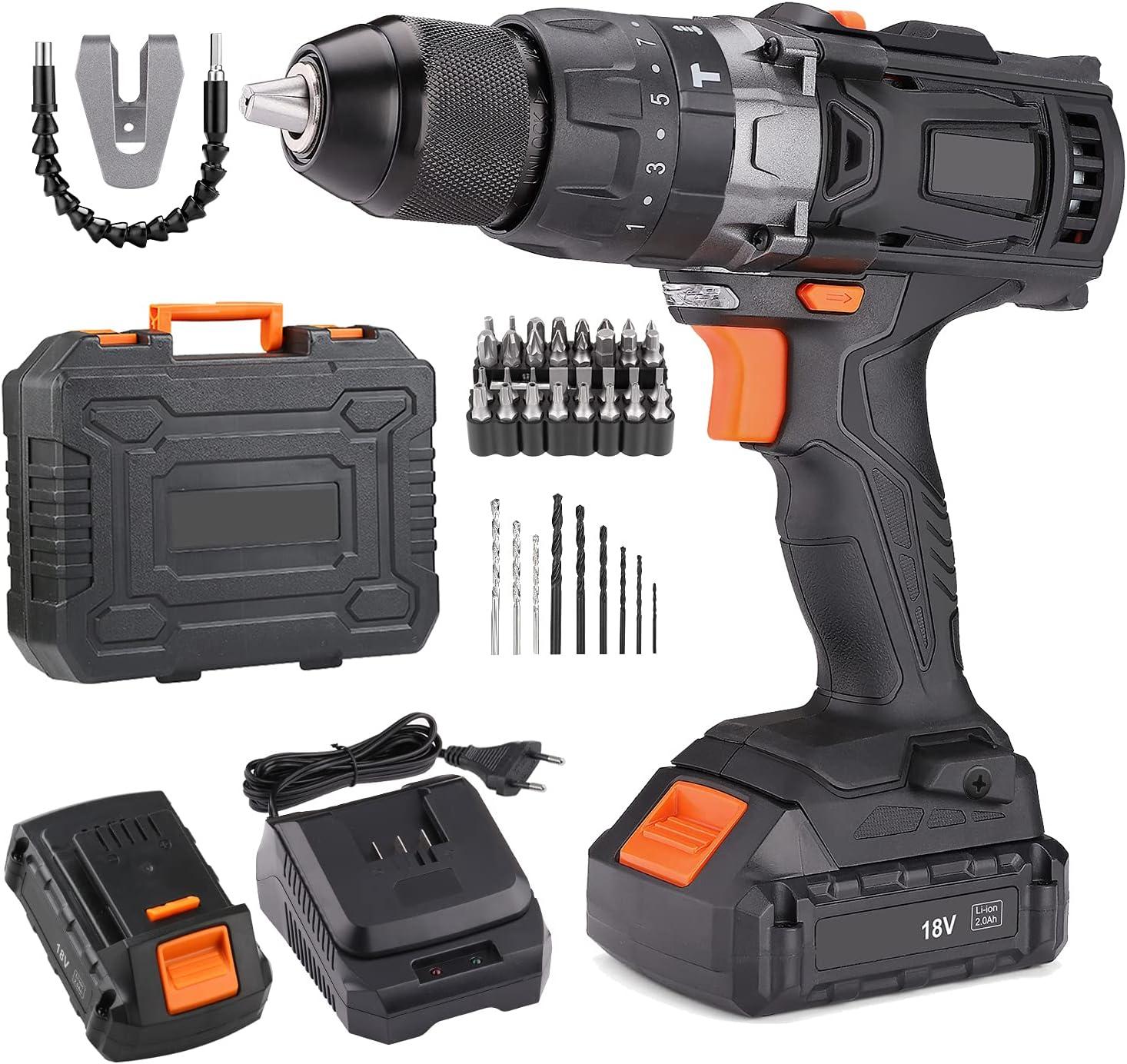 Taladro Atornillador 18 V, Máx 45Nm, 2x 2.0Ah Baterías Litio, 43 Accesorios, 2 Velocidades,13 mm Portabrocas Automatico,1H Carga Rápida PCD04B
