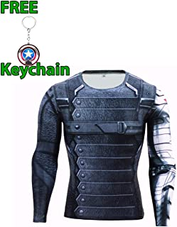 Geek Gear Men's Super Hero Gym/Fitness Long Sleeve Compression Shirts with Free Keychain