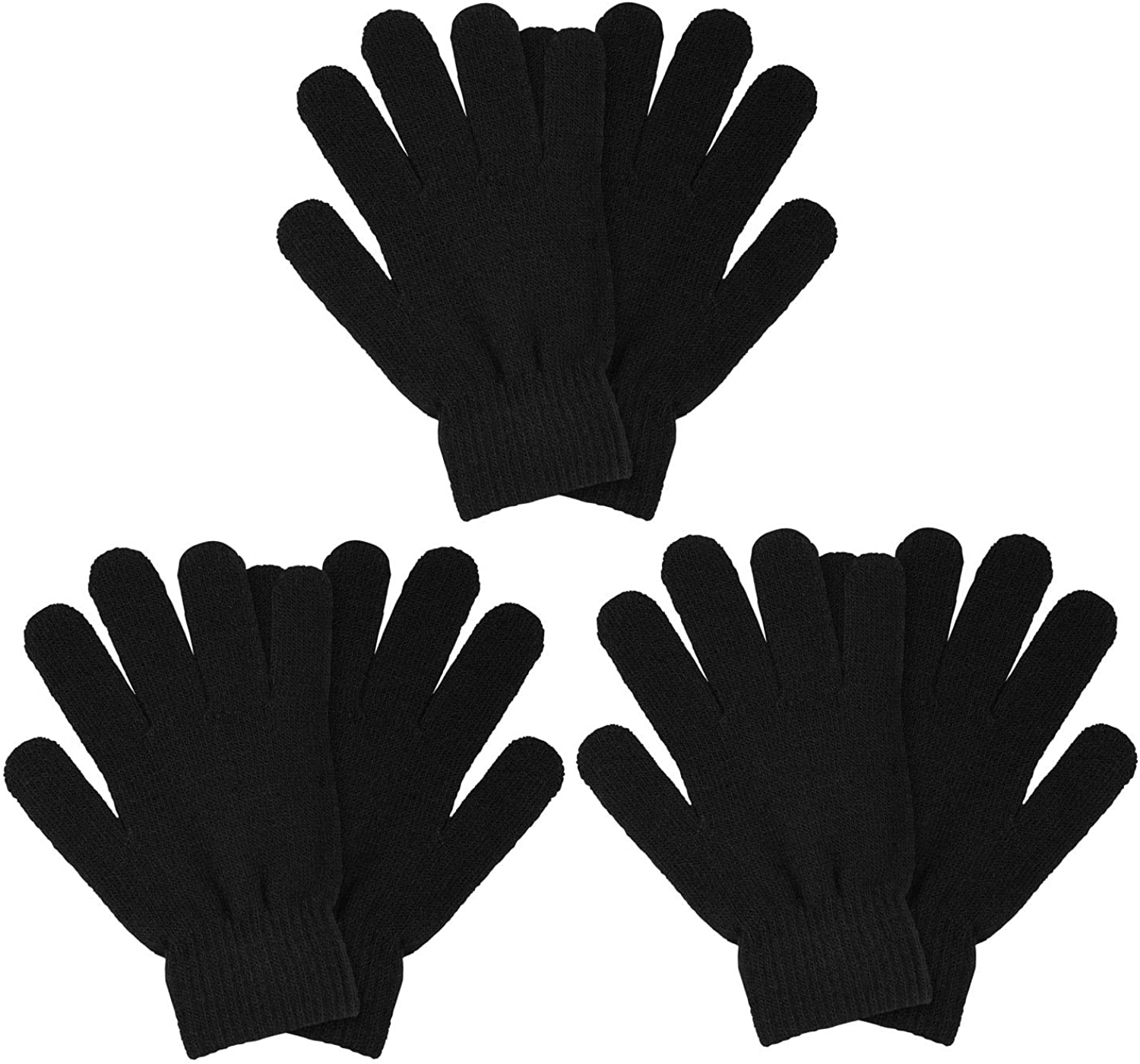 MENOLY 3 Pairs Winter Magic Gloves Adult Knit Gloves Warm Stretchy Knit Gloves One Size Fits Men Women Teens, Black
