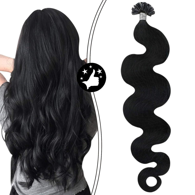 Moresoo Utip Hair Extensions Human Black Max Store 72% OFF #1 Color Jet