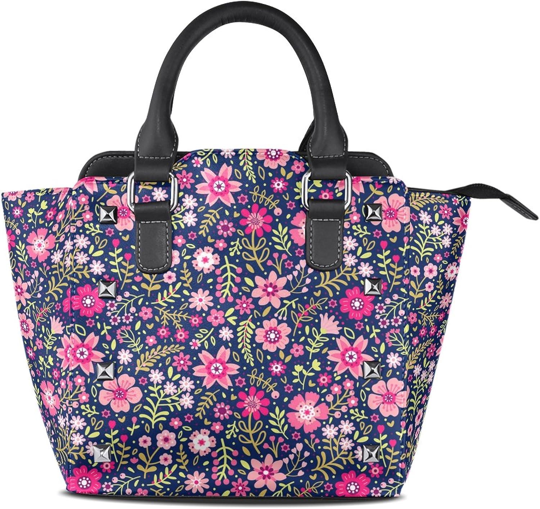 My Little Nest Women's Top Handle Satchel Handbag Small Pink Ditsy Flower Ladies PU Leather Shoulder Bag Crossbody Bag