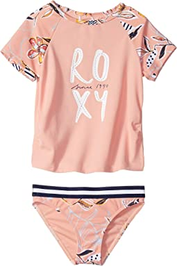Let's Be Roxy Short Sleeve Rashguard Set (Toddler/Little Kids)