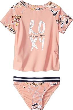 Let's Be Roxy Short Sleeve Rashguard Set (Toddler/Little Kids)